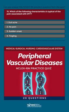 Peripheral Vascular Diseases Practice Quiz (20 Questions)