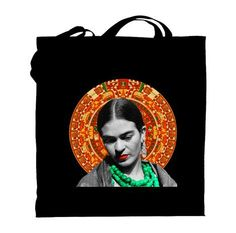 Also on my Top 10 Frida Kahlo Wants is this awesome tote.   (via Frida Kahlo with Aztec Black Tote Bag by MrsTShirtsco on Etsy)