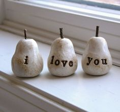 i love you Three handmade decorative polymer clay pears by SkyeArt, Etsy