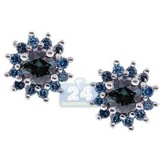 Buy authentic 925 Sterling Silver ct Round Cut Blue Diamond Cluster Flower Push Back Stud Earrings for Women. Green Peridot, Purple Amethyst, Pink Sapphire, Chandelier Earrings, Stud Earrings, Womens Earrings, Flower Stud, Sterling Silver Earrings Studs, Diamond Studs