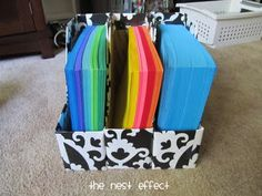 Cover cereal boxes for organizing magazines, paper...