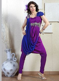 $172 Voguish Purple Georgette Churidar Suit