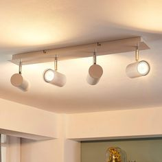 Ceiling spotlights for the kitchen, bathroom and more; available as single and bar spotlight. Huge range of LED spotlights. Led Ceiling Spotlights, Ceiling Lights, Spot Design, Spot Plafond, Spots, Kitchen Lighting, Track Lighting, Living Spaces, Kitchen