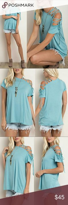 Lace Up Cold Shoulder Top One sided lace up cold shoulder top - Sea  Blue Super soft and comfy! 95% rayon / 5% spandex RORYRY Tops