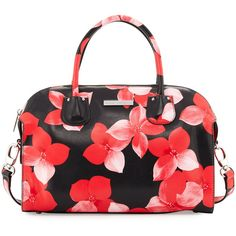 Charles Jourdan Pippa Floral-Print Leather Satchel Bag ($231) ❤ liked on Polyvore featuring bags, handbags, red floral, genuine leather handbags, floral purse, floral handbags, leather satchel handbags and red leather purse