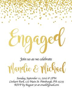 Engagement Party Invite Digital by CoInDesign on Etsy  Invitations gold foil design.