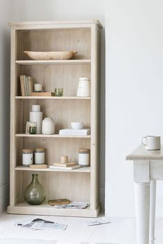 We got very excited when we developed this light beached timber finish as it lends itself brilliantly to a bookcase. Never over-bearing and full of character. Paper Storage, Hanging Storage, Cube Storage, Small Storage, Storage Ideas, Grey Bookshelves, Bookshelves In Bedroom, Wood Shelves, Bookcase