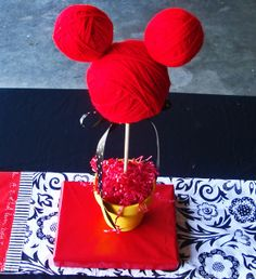 Easy Mickey Mouse birthday party decoration! See more Mickey Mouse party ideas at CatchMyParty.com. #mickeymouse #partyideas #boybirthday #partydecorations