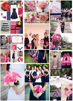 Navy Blue And Hot Pink Wedding Colors