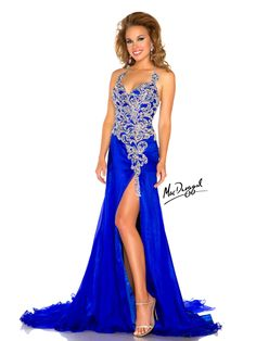 This gorgeous Pageant Gown from the Mac Duggal Pageant collection 2013 is perfect for a pageant or any special occasion that you really want to stand out. This shimmering flowing floor length evening gown features a stunning intricately hand beaded Swarovski ab rhinestone bodice. The fitted waist adds shape to a dramatic silhouette that will have you turning heads. As you walk down the stage to receive your crown the gown will flow behind you for your crowning moment. Add ab rhinestone…