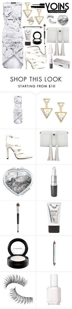 """YOINS - White Marble Dress"" by deborah-calton ❤ liked on Polyvore featuring Stila, MAC Cosmetics, shu uemura, Trish McEvoy, Chanel, Essie, yoins, yoinscollection and loveyoins"