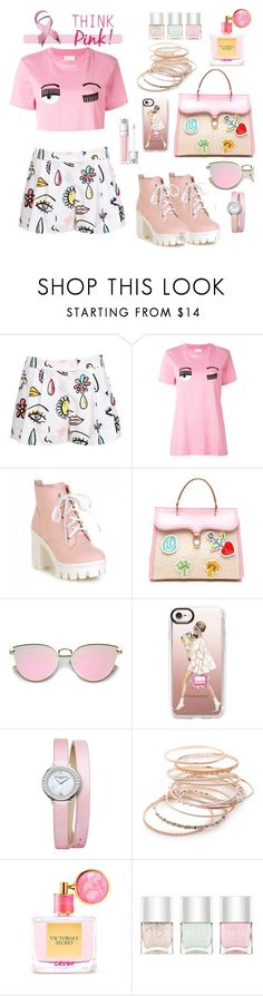 """""""ThinkPink"""" by im-angelacoleen ❤ liked on Polyvore featuring Moschino, Chiara Ferragni, Olympia Le-Tan, Casetify, Baume & Mercier, Red Camel, Victoria's Secret and Nails Inc."""