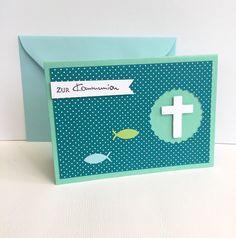 Glückwunschkarten - Kommunionkarte KREUZ & FISCHE - ein Designerstück von POMMPLA bei DaWanda