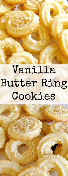 Vanilla Butter Ring Cookies. These little cookies have a wonderful vanilla flavor and melt in your mouth. Easy to make! | Lovefoodies.com