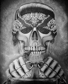 Riding down the street. Evil Skull Tattoo, Skull Tattoos, Body Art Tattoos, Devil Tattoo, Cholo Tattoo, Chicanas Tattoo, Aztecas Art, Estilo Cholo, Chicano Love