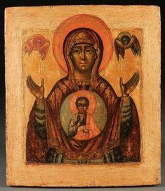 A FINE RUSSIAN ICON OF THE SIGN MOTHER OF GOD By Russian School, 18th Century