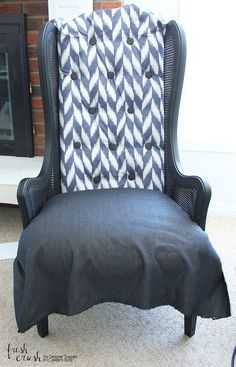 This caned wingback chair makeover is AMAZING! Come learn how to upholster a chair with the detailed tutorial from Fresh Crush for Designer Trapped in a Lawyer's Body! Chairs For Rent, Old Chairs, Wingback Chairs, Ikea Chairs, Armchair, Accent Chairs Under 100, Small Accent Chairs, Cane Back Chairs, Plastic Adirondack Chairs