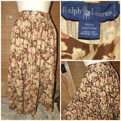 RALPH LAUREN - Vintage Skirt - Womens Small (28 waist) True Vintage! 80s-early 90s era Ralph Lauren (Blue Label) 100% Cotton Made in Malaysia