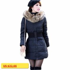 Red Black Khaki Parka Fourrure Winter Jackets Women Solid Fashion Padded Warm Coats 2017 Full-Sleeved Hooded Long Outwear Tops