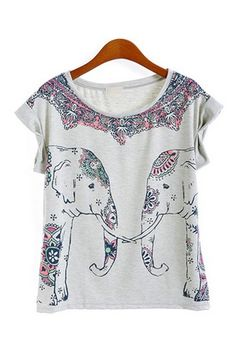 8de02e76ba7816 Cute Elephant Print Short Sleeve T-shirt Cute Elephant