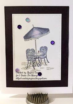 I Brake For Stamps: Bistro Table.   Handmade card.