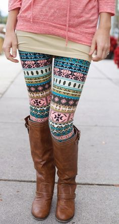 Casual Fall Outfit With Colorful Leggings and Long Leather Boots http://www.pinterest.com/LadyKittyMeow91/if-you-like-it-wear-it/