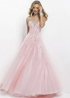 Pink Silver Jewels and Stones Beaded Lace Up Back Prom Dress