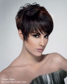Dark brown pixie cut with a graduated neck section.