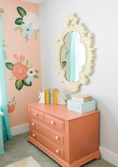 Thrifted furniture, DIY painted walls and design ideas for a girls bedroom- Nesting with Grace