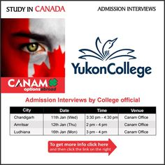 Study in Canada - Yukon College. For complete information & enrolment, Register Today!  #StudyAbroad #StudyinCanada #YukonCollege #StudentVisaExpert #CanamConsultants