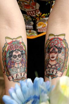 Frida Kahlo day of the dead tattoo. So beautiful.