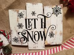 Let it Snow Pallet Sign, Holiday, Christmas, Distressed Wood Sign, White, Sparkle Blue, Reclaimed Wood by TraceesTreasures on Etsy