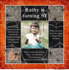 Scare up a Halloween birthday bash with spider-filled 50th birthday costume party invitation! Classic orange