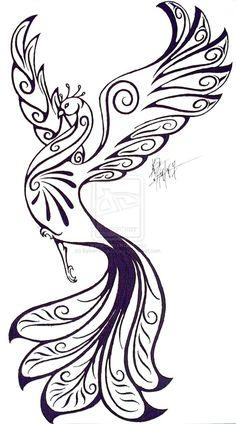 Phoenix by Sylver-Star-Shyne on DeviantArt Peacock Tattoo, Feather Tattoos, Body Art Tattoos, Crow Tattoos, Ear Tattoos, Phoenix Painting, Phoenix Drawing, Tribal Phoenix Tattoo, Phoenix Tattoo Design