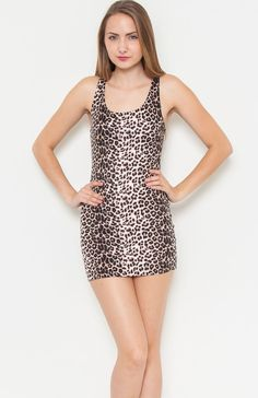 Round neck sleeveless cheetah print bodycon dress featuring solid back with racerback. Easy to dress up with a fur jacket for a night out in the cold. Price Per Piece $11.95