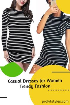 Add some horizontal stripes to your off-duty wardrobe with this classy t-shirt dress. Update your basics wardrobe with this t-shirt dress. Complement this cute t-shirt dress with sandals for cute sneaker for women casual street style. For an edgy look pair this casual bodycon dress with a stiletto for a cute night out outfit. This cute dress is an everyday outfits to look great at all time. It is also the perfect lounge wear and women casual wear. A glamorous look for women classy styles… Casual Dress Outfits, Casual Summer Dresses, Stylish Dresses, Elegant Dresses, Stylish Outfits, Casual Wear, Bodycon Dress Formal, Professional Attire, Casual Street Style