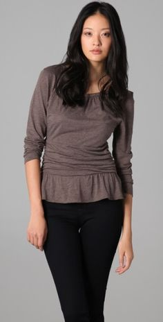 Marc By Marc Jacobs Feather Jersey Blouse in Brown