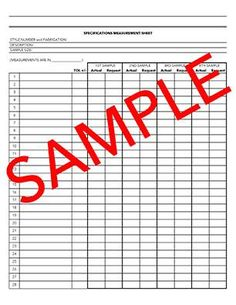 Tech Pack Spec Measurement Sheet Template