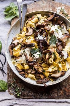 This rustic mushroom pasta gets its flavor from a sauce made of butter, white wine, lemon juice, sage, basil, and thyme. Get the recipe.