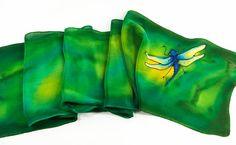 "Green Silk Scarf.  Dragonfly silk scarf. Hand painted silk scarf.  8"" x 52"" crepe de chine silk. handmade silk scarf. handpainted silk"