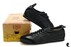 Asics Onitsuka Tiger Mexico 66 Black Leather Trainers