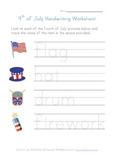 Free printable Fourth of July worksheet to help kids practice their handwriting skills. Kids are asked to trace the of July words on the printing lines provided. Kindergarten Math Activities, Preschool Lessons, Preschool Learning, Writing Activities, Class Activities, Alphabet Activities, Summer Activities, 4th July Crafts, Fun Facts For Kids