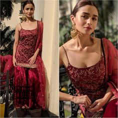 Here's another addition to the glamorous style-tribe that has been embracing the trend of Pakistani style sharara suits. Alia Bhatt was all dolled up in a maroon silk sharara style palazzo suit for a recent festive gathering. Sharara Designs, Kurti Designs Party Wear, Indian Attire, Indian Ethnic Wear, Ethnic Suit, Indian Wedding Outfits, Indian Outfits, Indian Clothes, Pakistani Dresses