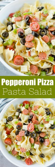 Pepperoni Pizza Pasta Salad - the perfect side dish for all your summer barbecues! Pasta tossed with mini pepperoni black olives green bell pepper tomatoes mozzarella cheese and Italian dressing. Yummy Pasta Recipes, Potluck Recipes, Pasta Salad Recipes, Side Dish Recipes, Dinner Recipes, Cooking Recipes, Healthy Recipes, Vitamix Recipes, Skillet Recipes
