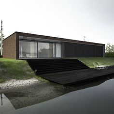 LONG house is the modern house on а river shore for young creative people, planning decision,corridors-galleries, covered terrace, modern planning