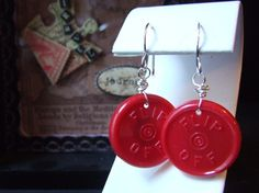 Red Recycled Medicine Vial  Flip Off  Lid by SalvagedJewelry, $6.00