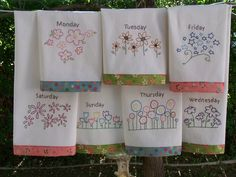 embroidered dish towels designs | Embroidery Patterns For Tea Towels