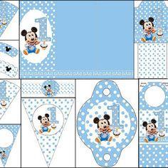Mickey Primer Año con Lunares: Imprimibles Gratis para Fiestas.   Oh My Bebé!