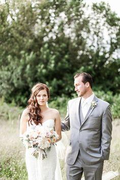 soft pink and sage bride bouquet in Oregon barn wedding