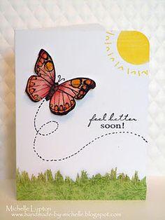 Great feel better soon  butterfly card@Handmade by Michelle